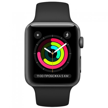 Смарт-часы Apple Watch S3 38mm Space Grey Al/Black Sport Band (MTF02RU/A)