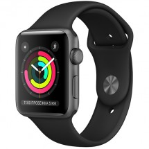 Смарт-часы Apple Watch S3 42mm Space Grey Al/Black Sport Band (MTF32RU/A)